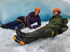 Resting in an ice cave; Falljökull glacier