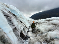 Robby checking out Falljökull glacier, an outlet of Vatnajokull (Europe's largest glacier)