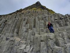 Robby on the basalt columns of Reynisfjara Beach