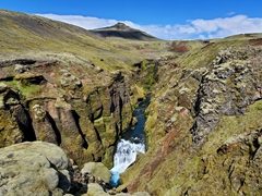 We spent 3 hours hiking next to this gorgeous canyon to discover the next waterfall; Fimmvörðuháls Trail