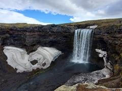 The last of 26 waterfalls just before the bridge over the Skógá River; Fimmvörðuháls trail