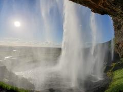 View from behind Seljalandsfoss waterfall