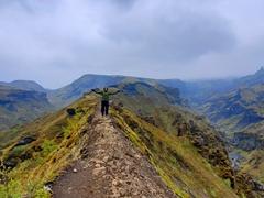 Robby hiking the Þórsmörk portion of the Fimmvörðuháls Trail