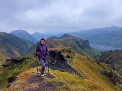 Even though it was an overcast day, Becky still enjoyed the views around gorgeous Þórsmörk