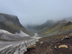 We hiked nearly 6 km from the Básar campsite to Heljarkambur (Hell's Ridge) before turning back due to the limited visibility; Þórsmörk