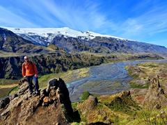 Robby at the top of Valahnúkur mountain; Þórsmörk
