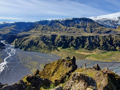 Amazing 360 degree views from the top of Valahnúkur mountain