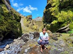 Becky admiring the narrow ravine; Stakkholtsgjá Canyon