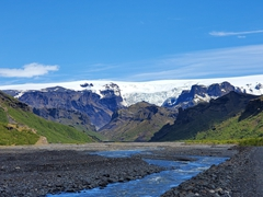 Þórsmörk is nestled between 3 glaciers. This is the view as we walked back to Básar Hut & Campsite