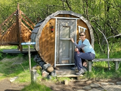 Becky at a tiny sauna hut; Volcano Huts Þórsmörk