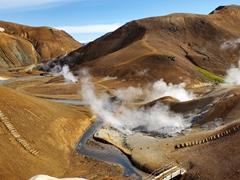 Steaming vents in this geothermal wonderland of Hveradalir; Kerlingarfjöll