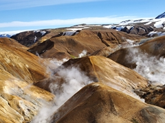 Hveradalir (the valley of hot springs) is famous for its colorful hot springs and phenomenal landscape views