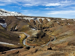 Horseshoe bend in the Ásgarðsá River; Kerlingarfjöll