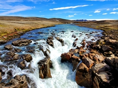 View of Gýgjarfoss, a beautiful central highland's waterfall