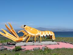 Massive lobster statue in front of Hafið Bláa restaurant; Þorlákshöfn