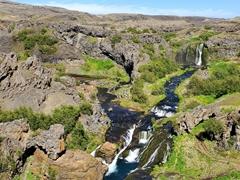 A view of Gjáin gorge hidden in the Þjórsárdalur Valley