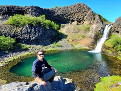 Becky at Gjárfoss waterfall; Gjáin