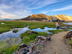 """Natural geothermal hot springs at Landmannalaugar, which means """"people's pools"""" in Icelandic"""