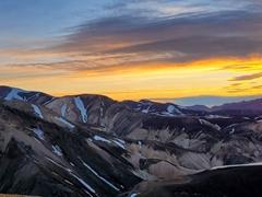 Midnight sunset at the top of Mount Brennisteinsalda