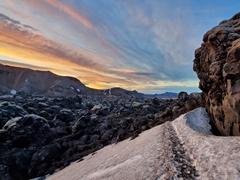 Path leading through the Laugahraun lava field
