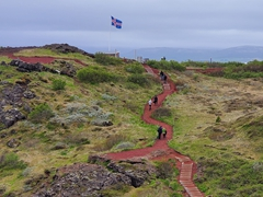 Stairs leading to the crater lake; Kerið