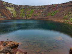 Eye level view of Kerið's crater lake