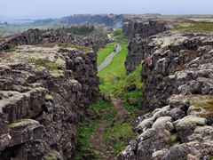 Þingvellir national park is situated in a rift valley between the North American and Eurasian tectonic plates