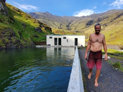 Robby at Seljavallalaug (Iceland's oldest pool). The outdoor pool was built in 1923 and its function was to teach Icelandic people to swim