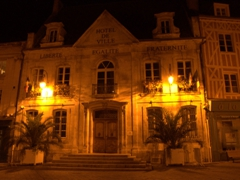 Auxerre's town hall lit up at night