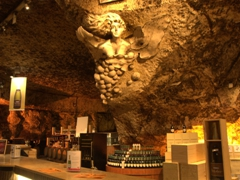 One of several sculptures carved out of the limestone cave; Les Caves Bailly Lapierre