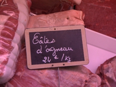 Delicious lamb on sale at a boucherie; Cravant