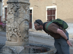 Robby at the Fontaine au Loup (water fountain); Mailly-le-Château
