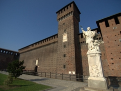 The Bona of Savoy Tower erected in the eastern corner of the Rocchetta courtyard. The tower was commissioned by the Bona of Savoy after her husband was assassinated so she could keep a better eye on the castle; Castello Sforzesco