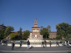 Fountain view of the Torre del Filarete; Sforza Castle