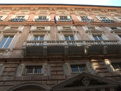 The facade of one of the mansions on Via Garibaldi