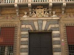 Impressive portal to one of Genoa's many Baroque buildings