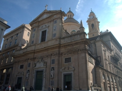 View of 6th century Chiesa del Gesu, one of the oldest churches in Genoa