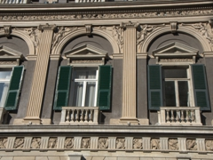 Window detail on one of Genoa's mansions