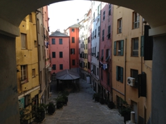 Colorful buildings tucked away in the historical center of Genoa