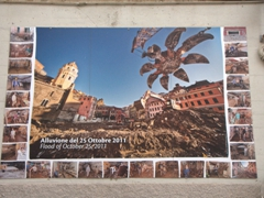 Poster showcasing the extensive flood damage to Vernazza in October 2011