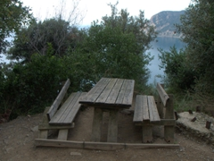 A dilapidated table and bench offer an impromptu siesta on our hike from Monterosso to Vernazza