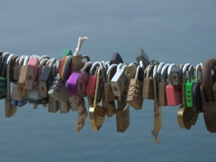 Locks of love seen along the path between Monterosso to Vernazza