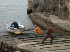 Robby lends a helping hand; Riomaggiore