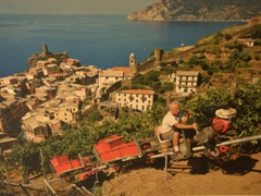 An old poster of a grape track; Vernazza