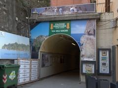 Via dell'Amore tunnel linking the train station to the harbor; Riomaggiore