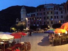 Dusk at Vernazza's harbor square