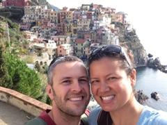 Smiling in our favorite Cinque Terre town, Manarola!