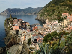 The lovely town of Vernazza (as seen from the watchtower of Vernazza's castle)