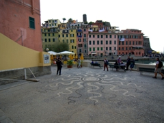 View of the tiny piazza in front of Vernazza's harborfront Church