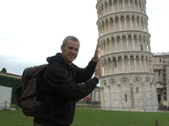 Robby pushing on the Leaning Tower of Pisa